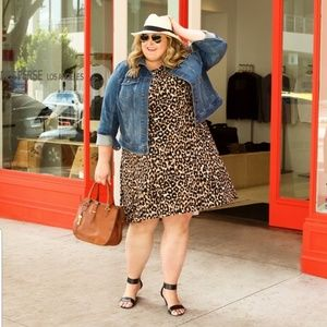 Leota Sleeveless Animal Print Fit and Flare Dress.
